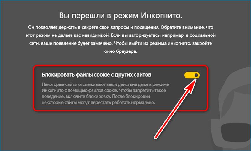 Блокировка куки Yandex