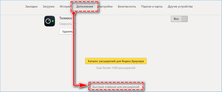 Быстрые клавиши расширений