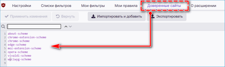 Доверенные сайты uBlock