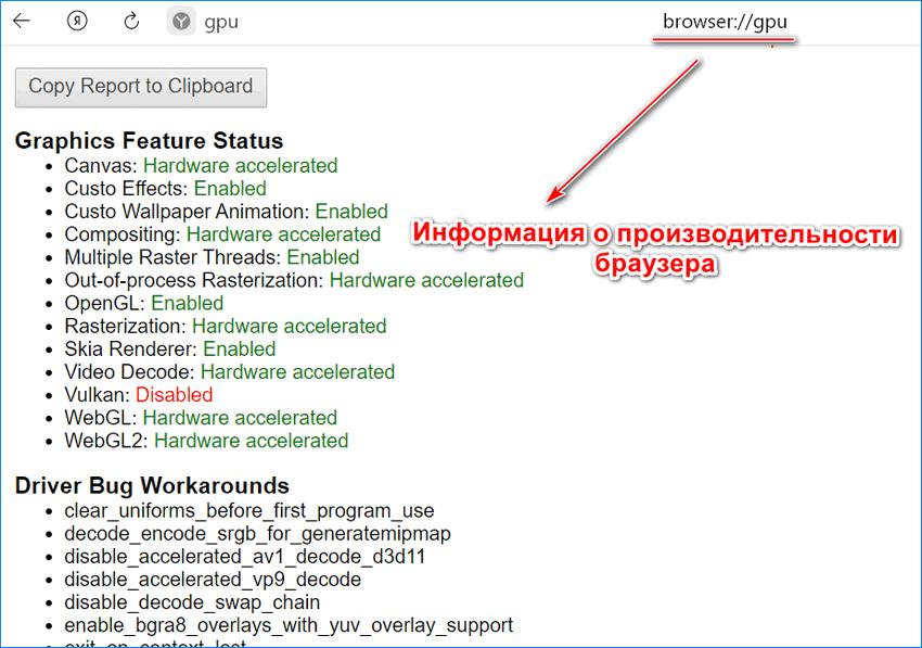 Информация о производительности Яндекс браузера