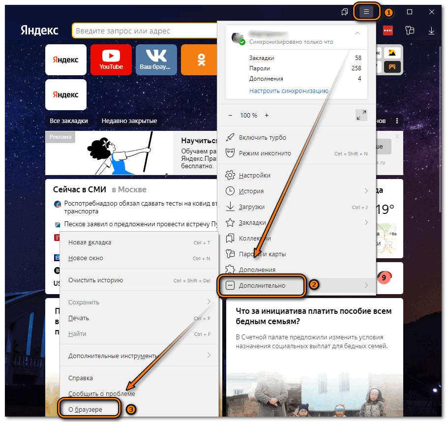 Информация о браузере Яндекс