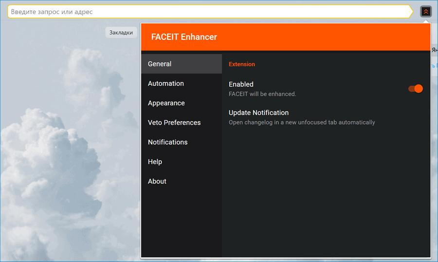 Интерфейс Faceit
