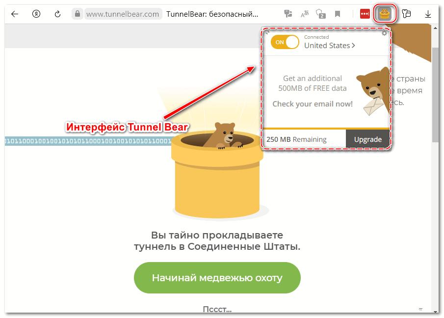 Интерфейс Tunnel Bear