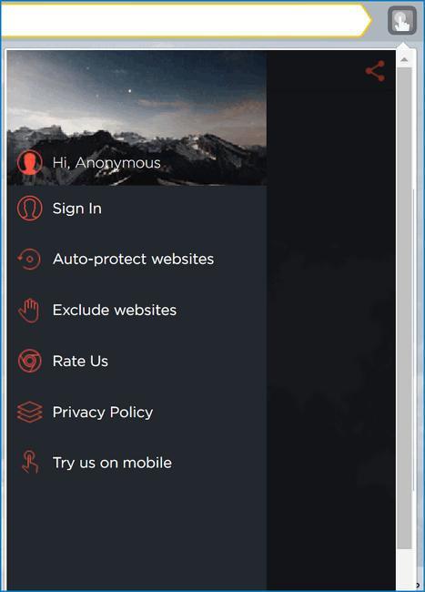 Меню Touch VPN
