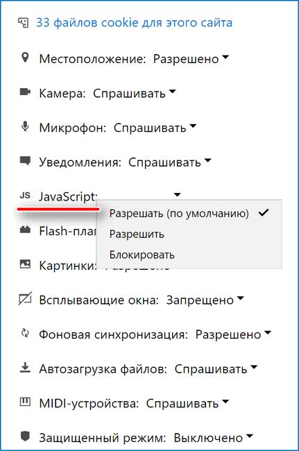 Параметры Javascript на сайте
