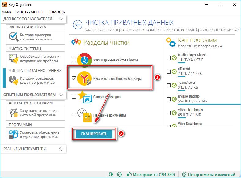 Выбор куки и данных Яндекс браузера в Reg Organaizer