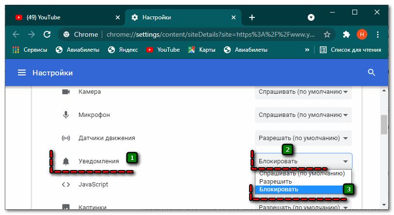 Блокировка уведомлений для конкретного сайта в Гугл