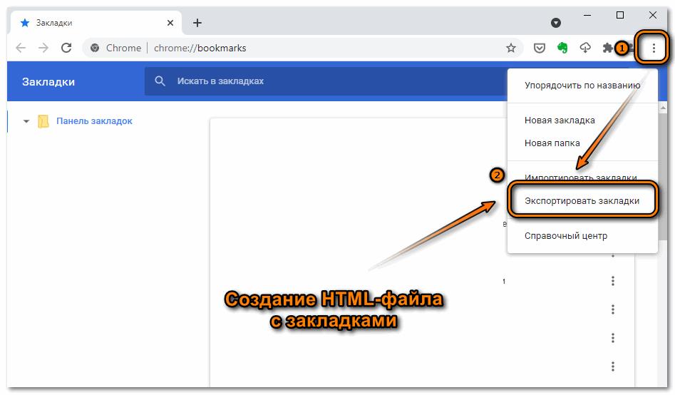 Экспорт закладок в Google Chrome