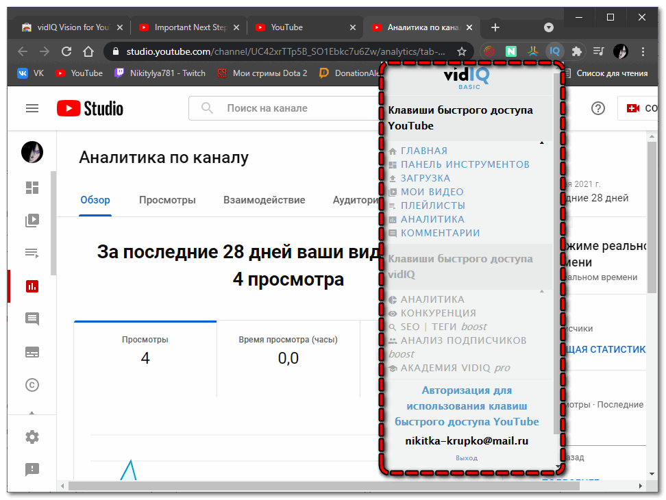Функции vidIQ