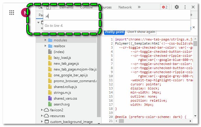 Переход к нужной строке в консоли разработчика Chrome