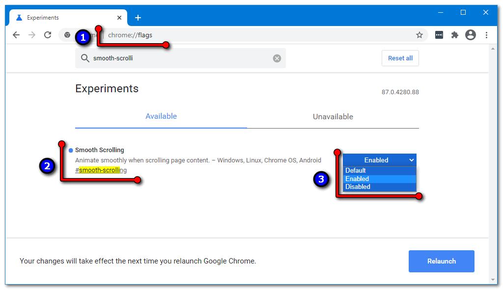 Плавная прокрутка Google Chrome