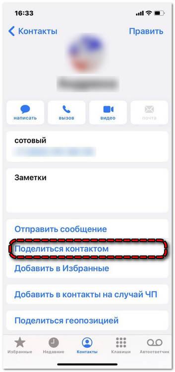 Поделиться контактом