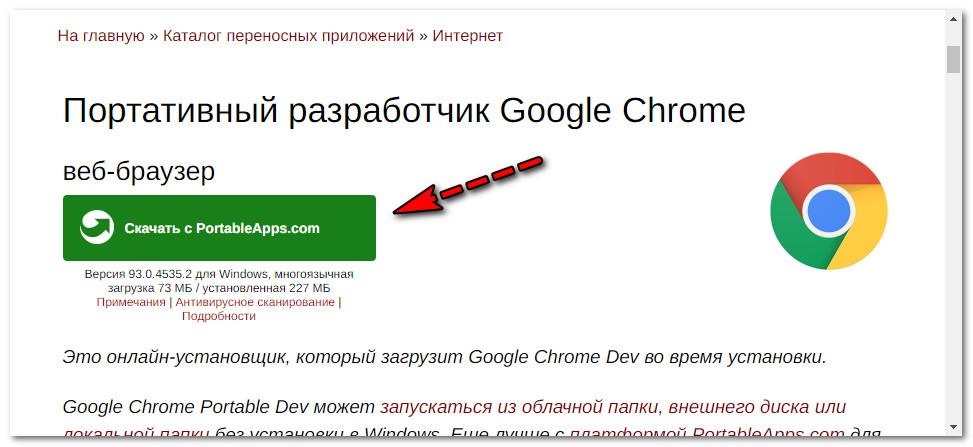Портативная версия Chrome Dev