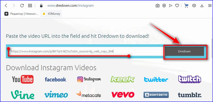 Скачать видео Инстаграм через Dredown2