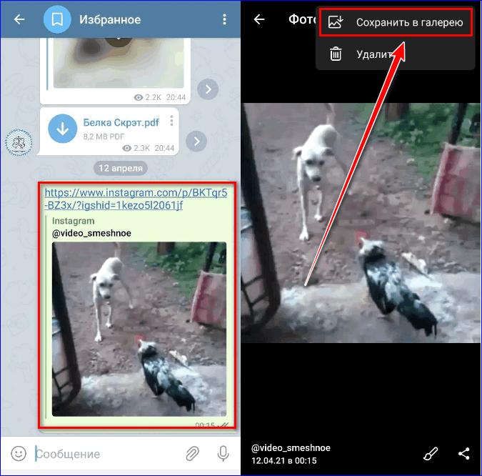 Скачать видео Инстаграм через Телеграм2