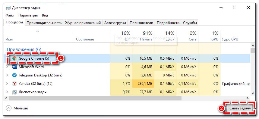 Снять задачу для Googlr Chrome
